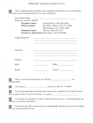 Domestic Violence Safety Plan Template Download Printable PDF ...