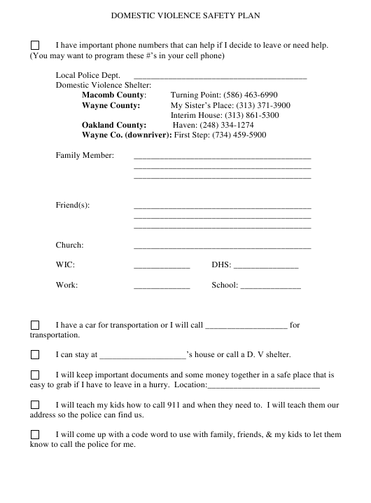 Domestic Violence Safety Plan Template Download Printable ...