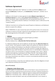 """Sublease Agreement Template - First Port"""