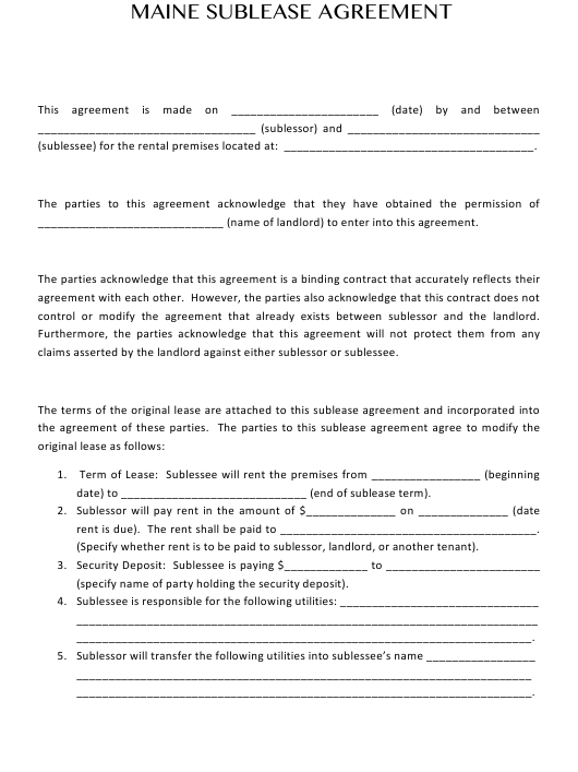 """Sublease Agreement Template"" - Maine Download Pdf"