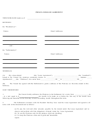 """Sublease Agreement Template"" - Indiana"
