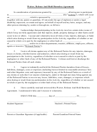 """Waiver, Release and Hold Harmless Agreement Template"""