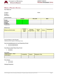 """Weekly Project Status Report Template - University of Minnesota"""