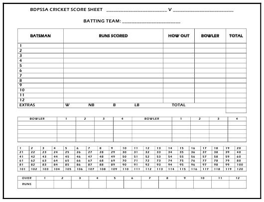 Bdpssa Cricket Score Sheet Download Printable PDF | Templateroller