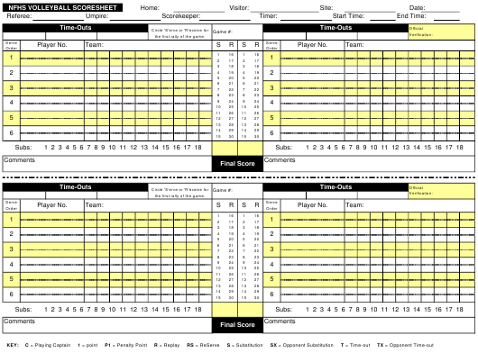 """Nfhs Volleyball Scoresheet"" Download Pdf"