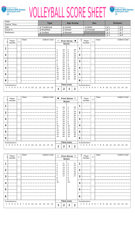 """Volleyball Score Sheet - Indiana Esk Games"" Download Pdf"