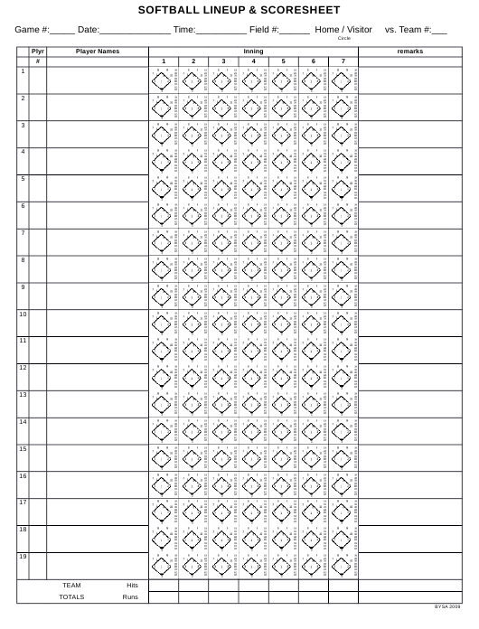 graphic about Softball Score Sheet Printable identified as Softball Lineup Scoresheet Template Obtain Printable PDF