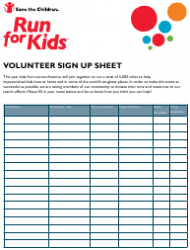 Volunteer Sign up Sheet - Run for Kids