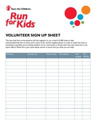 Volunteer Sign up Sheet - Run for Kids