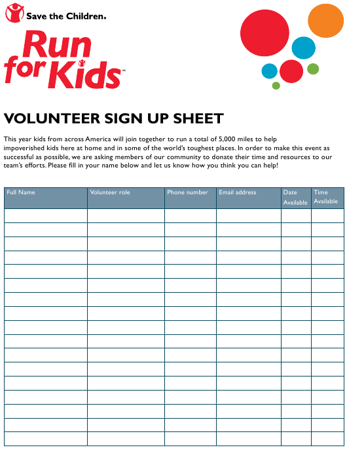 Volunteer Sign Up Sheet Run For Kids Download Printable Pdf