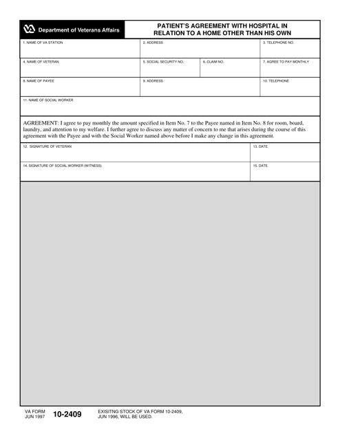 VA Form 10-2409  Printable Pdf