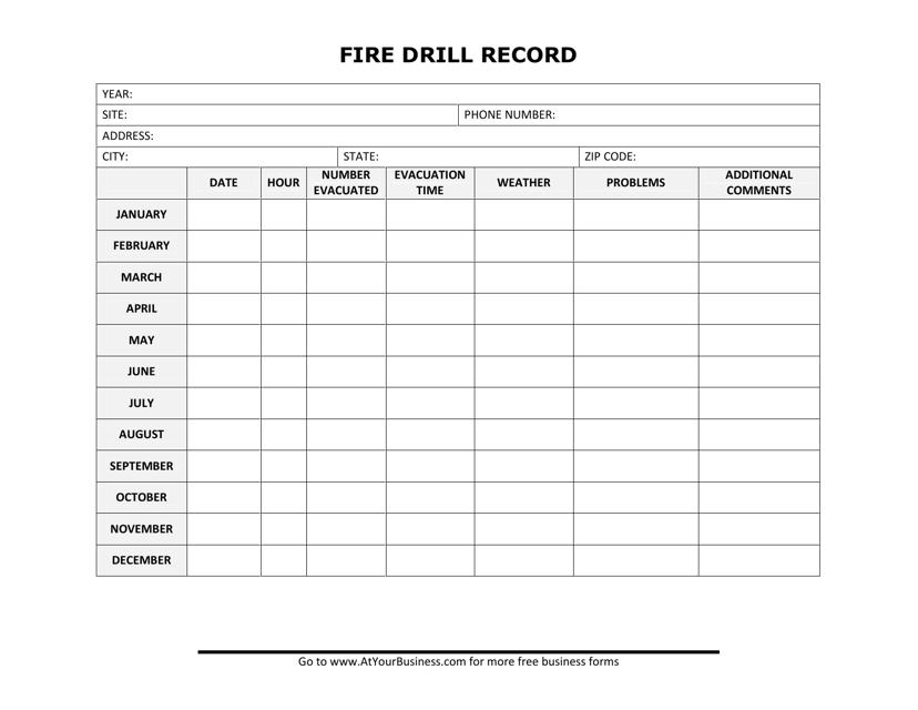 """""""Fire Drill Record Template"""" Download Pdf"""