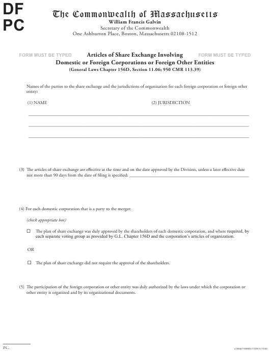 """""""Articles of Share Exchange Involving Domestic or Foreign Corporations or Foreign Other Entities"""" - Massachusetts Download Pdf"""