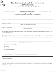 """Statement of Appointment of Registered Agent"" - Massachusetts"