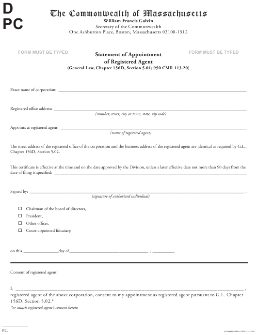 """""""Statement of Appointment of Registered Agent"""" - Massachusetts Download Pdf"""