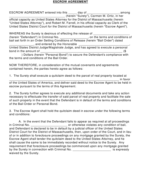 """Escrow Agreement Template"" - Massachusetts Download Pdf"