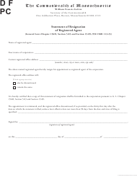 """Statement of Resignation of Registered Agent"" - Massachusetts"