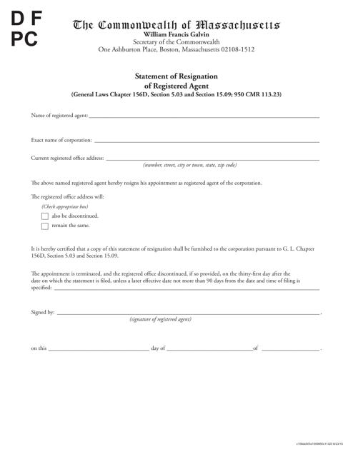 """Statement of Resignation of Registered Agent"" - Massachusetts Download Pdf"