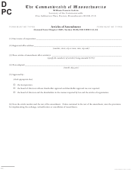 """Articles of Amendment"" - Massachusetts"