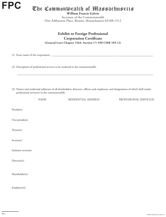 """Exhibit to Foreign Professional Corporation Certificate"" - Massachusetts Download Pdf"