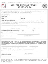 "Form MVD-11020 ""Limited Durable Power of Attorney"" - New Mexico"
