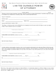 Form MVD-11020 Limited Durable Power of Attorney - New Mexico