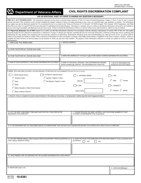 VA Form 10-0381  Printable Pdf