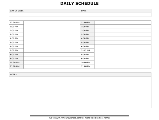 Daily Schedule Template Download Pdf