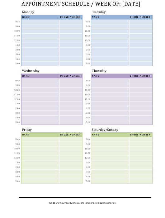 Appointment Schedule Template Download Printable PDF ...