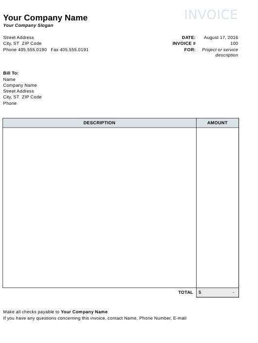 """""""Blank Invoice Template"""" Download Pdf"""
