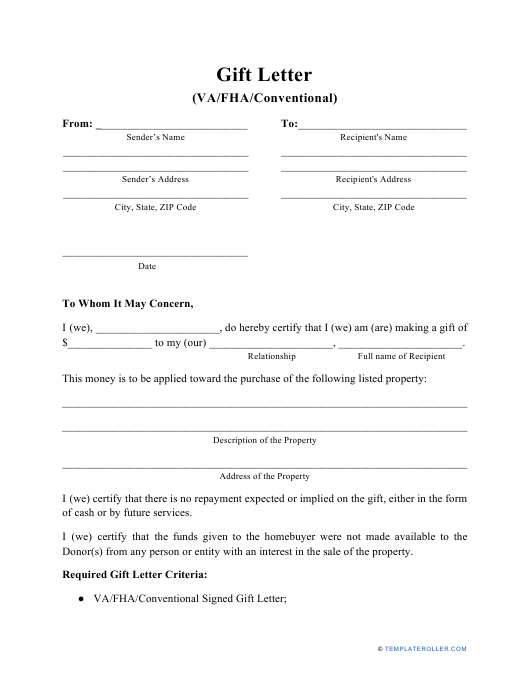 VA/Fha/Conventional Gift Letter Template Download Pdf