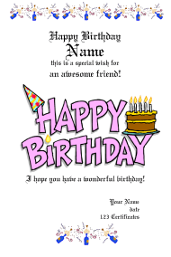 Birthday Wish Certificate Template
