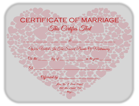 """Marriage Certificate Template"" Download Pdf"
