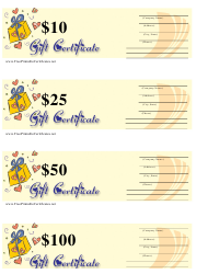 """10, 25, 50 & 100 Dollar Gift Certificate Templates - Yellow and Blue"""