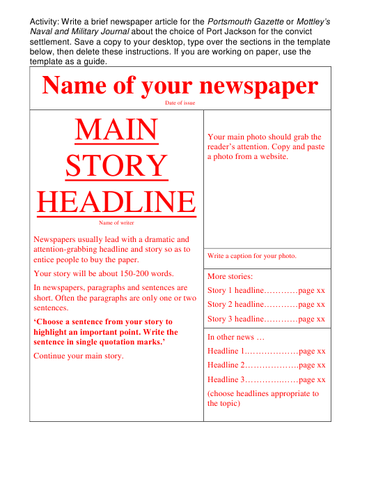 """""""Newspaper Layout Template"""" Download Pdf"""