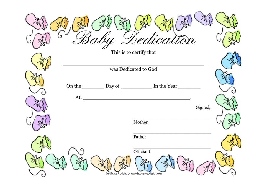 """Baby Dedication Certificate Template"" Download Pdf"