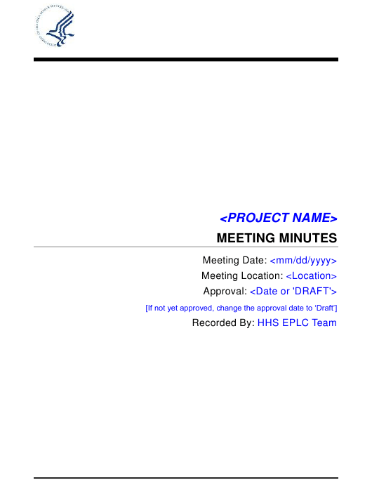 """Project Meeting Minutes Template"" Download Pdf"