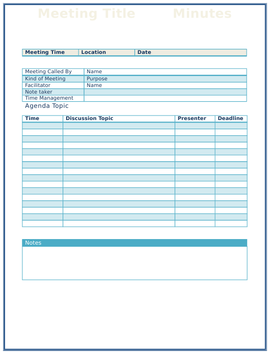 """""""Meeting Minute Template"""" Download Pdf"""
