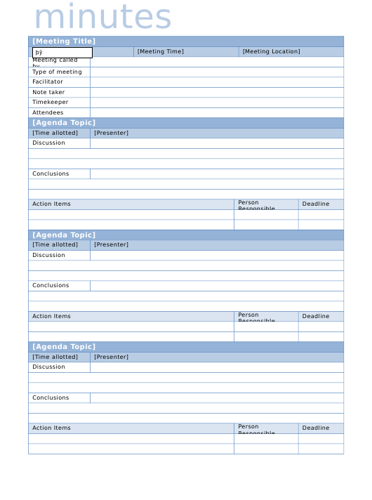 """""""Meeting Minutes Template"""" Download Pdf"""