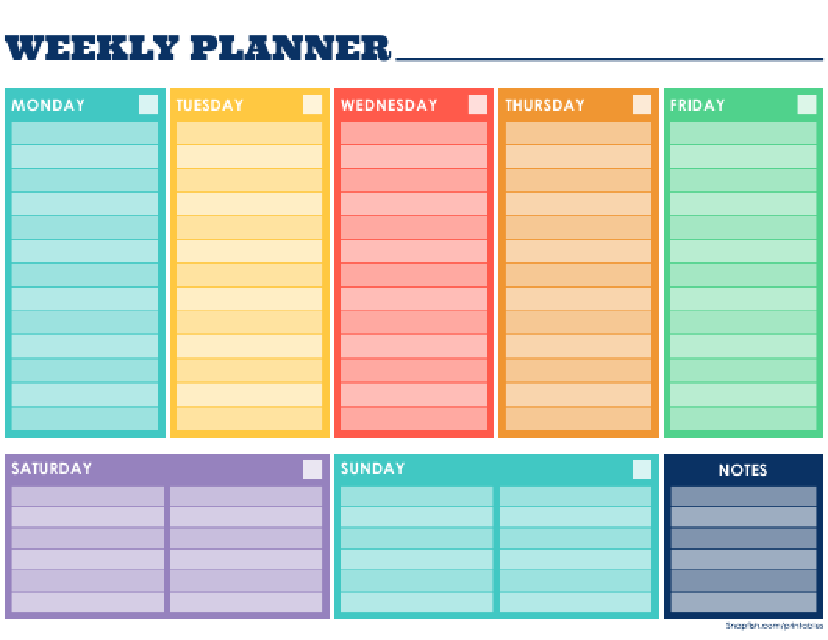 Weekly Planner Template Download Pdf
