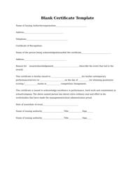 Blank Certificate Template