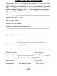 """""""Staff Resignation/Retirement Notice Form - First Regional Library"""""""