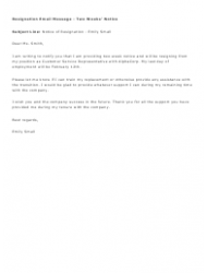 Sample Resignation Email Message - Two Weeks' Notice