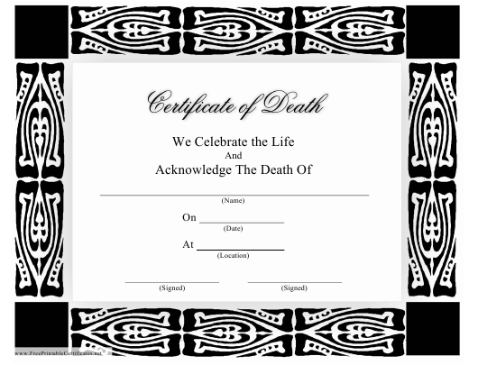 """""""Certificate of Death Template"""" Download Pdf"""