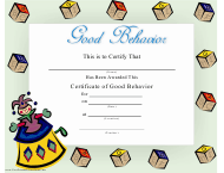 """Good Behavior Certificate Template"""
