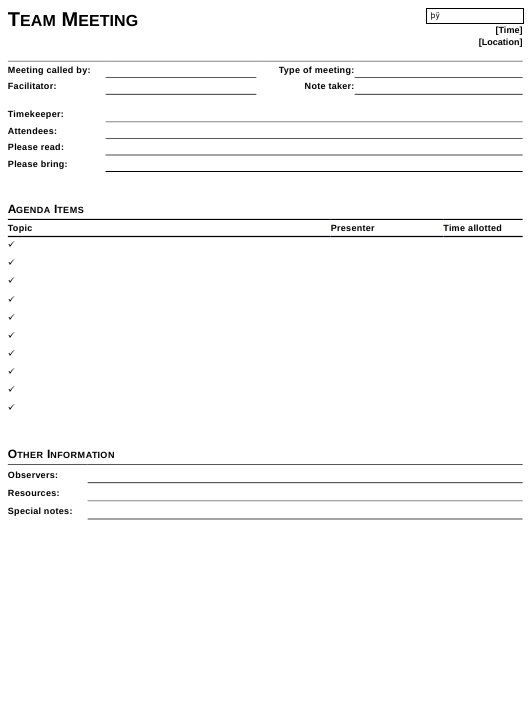 """Team Meeting Template"" Download Pdf"