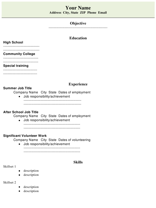 "Sample ""High School Student Resume Template"" Download Pdf"