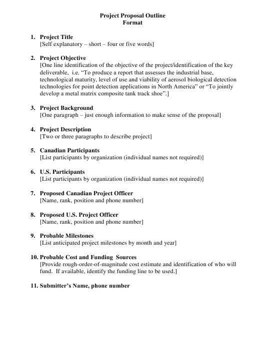 Project Proposal Outline Template Download Pdf