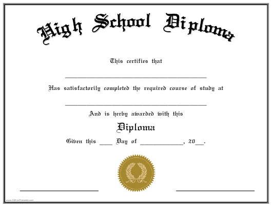 """""""High School Diploma Completion Certificate Template"""" Download Pdf"""