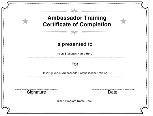 """""""Ambassador Training Certificate of Completion Template"""" Download Pdf"""